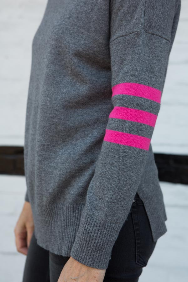 Grey & Pink stripe jumper